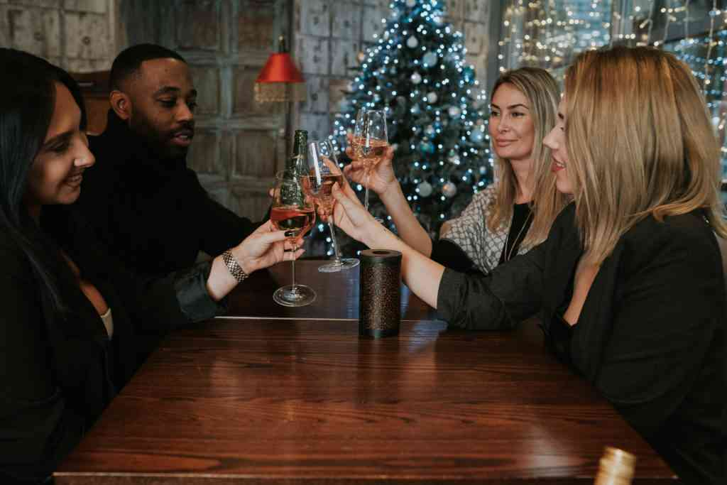 friends celebrating with wine in front of Christmas tree