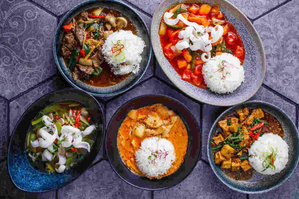 This image shows Thai food dishes from Siamais in Brindley Place Birmingham.